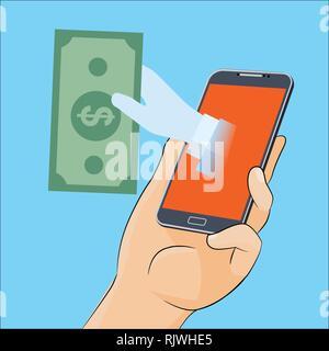 La main donne de l'argent à partir de l'écran du smartphone, pour les entreprises, des bannières web, conception de sites en ligne, paiement bitcoin concept. Vector Illustration. Illustra vecteur Banque D'Images
