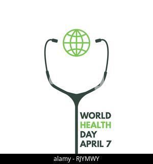 Journée mondiale de la santé. Stéthoscope avec globe de l'affiche. 7 avril. Médecine et soins de santé mondiale. Le bien-être et la protection de la santé. L'affiche de vecteur. Banque D'Images