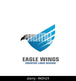 Eagle wings bouclier modèle logo graphique, logo d'affaires élégant. Banque D'Images