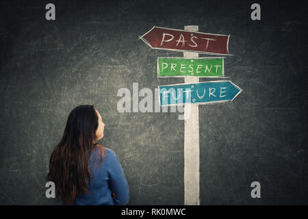 Vue arrière woman in front of blackboard en regardant un panneau avec des flèches montrant passé, présent et futur. Perdu dans le temps pittoresque route signe, destin ev Banque D'Images