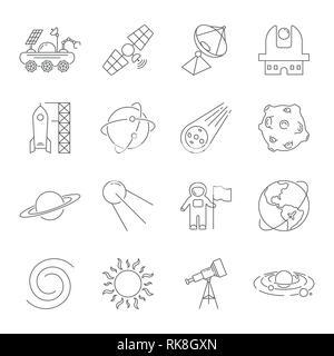 Simple Jeu d'icônes de lignes vectorielles liées à l'espace. Contient des icônes telles que l'Observatoire, la planète Terre, astéroïde, Astronaft, Saturne, lune, Moon Rover, l'énergie solaire Banque D'Images