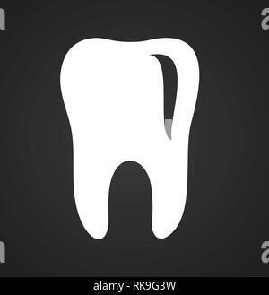 L'icône de la dent sur fond noir pour la conception graphique et web, simple signe vecteur moderne. Concept de l'Internet. Symbole à la mode pour la conception de site web site web application mobile ou bouton. Banque D'Images