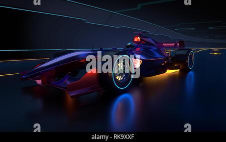 Race Car l'accélération le long d'un tunnel futuriste. Race car sans nom de marque est conçu et modélisé par moi-même. 3D illustration Banque D'Images