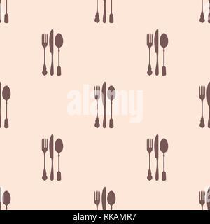 Restaurant menu modèle homogène. Vector background. Douces couleurs pastel. Couteau, fourchette et cuillère de silhouettes. Banque D'Images