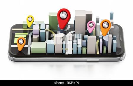 Des bâtiments de la ville et les axes de couleur sur smartphone. 3D illustration. Banque D'Images