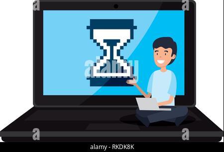 Homme assis à l'ordinateur portable avec vector illustration design hourglass Banque D'Images