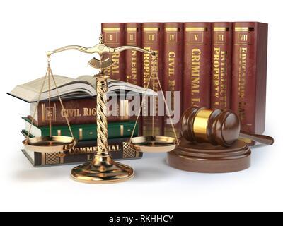Échelles d'or de la justice, Gavel et livres avec différents domaine du droit isolé sur fond blanc. Concept de la Justice. 3d illustration. Banque D'Images