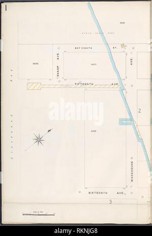 12 C. de Brooklyn, la planche no 1 [Plan délimité par Bay 8th St., entrepôt Ave., 16th Avenue.]. Sanborn Map Company (éditeur). Atlas de New York New