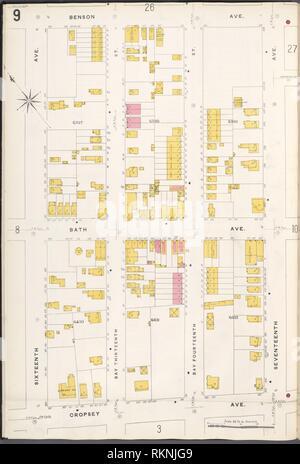 12 C. de Brooklyn, la planche no 9 [Plan délimité par Benson Ave., 17th Ave., Avenue Francis Towne, 16th Avenue.]. Sanborn Map Company (éditeur). Atlas de New York