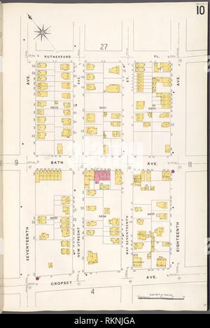 12 C. de Brooklyn, la planche no 10 [Plan délimité par Rutherford Pl., 18th Ave., Avenue Francis Towne, 17e Avenue.]. Sanborn Map Company (éditeur). De nouveaux Atlas