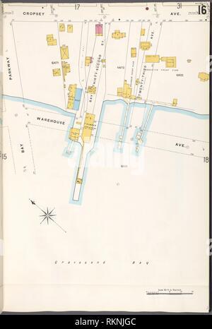 12 C. de Brooklyn, la planche no 16 [Plan délimité par l'Avenue Francis Towne, entrepôt Ave., Bay Parkway]. Sanborn Map Company (éditeur). Atlas de la ville de New York