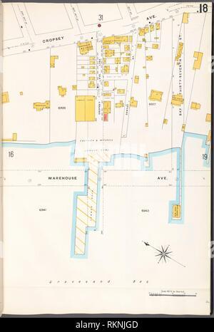12 C. de Brooklyn, la planche no 18 [Plan délimité par l'Avenue Francis Towne, Bay St., 37e Avenue d'entrepôt]. Sanborn Map Company (éditeur). Atlas de la ville de New York