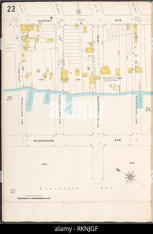 12 C. de Brooklyn, la planche no 23 [Plan délimité par Harway Ave., Bay 46th Street, l'Avenue de l'entrepôt, Bay 43e St.]. Sanborn Map Company (éditeur). Atlas de