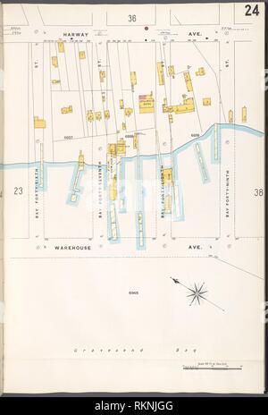 12 C. de Brooklyn, la planche no 24 [Plan délimité par Harway Ave., Bay 49th Street, l'Avenue de l'entrepôt, Bay 46th Street]. Sanborn Map Company (éditeur). Atlas de