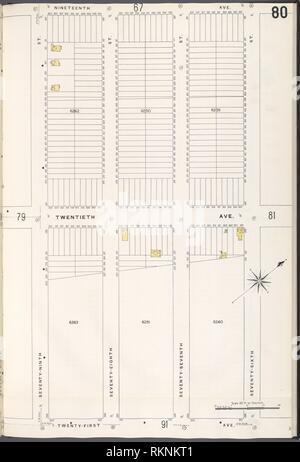 12 C. de Brooklyn, la planche no 80 [Plan délimité par la 19e Avenue, 76th St., 21e Avenue, 79th Street]. Sanborn Map Company (éditeur). Atlas de New York New