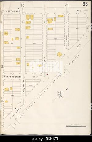 12 C. de Brooklyn, la planche no 96 [Plan délimité par la 23e Avenue, Stillwell Ave., 83e St.]. Sanborn Map Company (éditeur). Atlas de New York New York