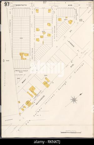 12 C. de Brooklyn, la planche no 97 [Plan délimité par la 20e Avenue, Gravesend, 10, rue 54e]. Sanborn Map Company (éditeur). Atlas de New York New York