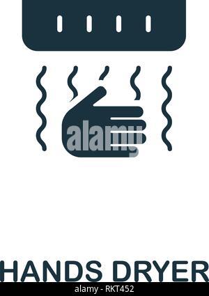 L'icône mains sèche-linge. Style de design premium collection icônes de l'hygiène. Pixel perfect mains cheveux icône pour la conception de sites web, applications, logiciels, l'utilisation d'impression Banque D'Images