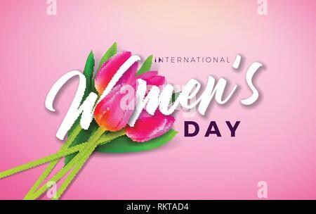 Bonne Journée de la femme avec l'illustration des fleurs et tulipes 8 mars typographie lettre sur fond rose. Fête du Printemps vecteur modèle de conception Banque D'Images