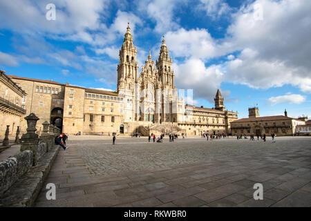 Santiago de Compostela Cathedral view à partir de la place Obradoiro. Cathédrale de Saint James, de l'Espagne. La Galice, pèlerinage