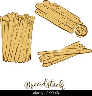 Croquis de couleur de longuet le pain. Dessin vectoriel de pain sec de la nourriture, habituellement connu en Italie. Illustration du pain de couleur série.