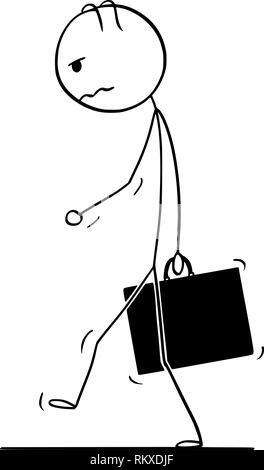 Caricature de l'homme déprimé ou triste ou Businessman with Briefcase Walking Banque D'Images