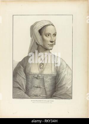 Portrait d'une femme faisant face à droite - 1798 - Francesco Bartolozzi (italien, 1727-1815) après Hans Holbein le jeune (allemand, 1497-1543) - Artiste: Banque D'Images