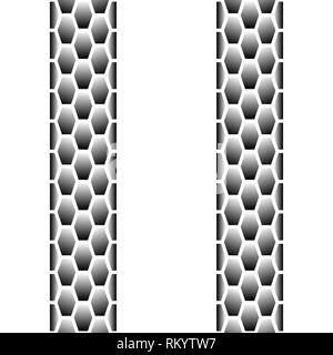 Lignes superposées noir des traces de pneus transparente isolé sur fond blanc Banque D'Images