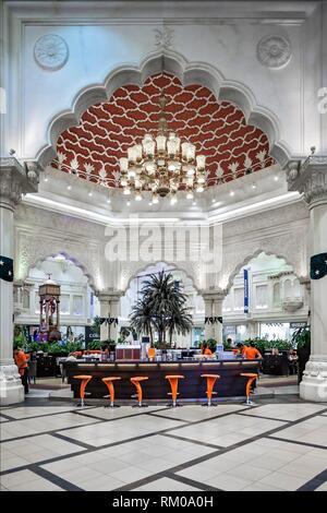 De l'intérieur détail architectural Cour indienne de l'Ibn Battuta Mall, Unis Hill Première, Dubaï, Dubayy, Émirats arabes unis. Banque D'Images