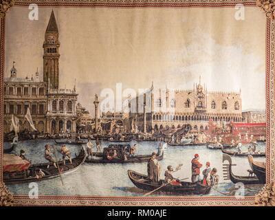 Tapis, île de Burano, Venise, Italie. Banque D'Images