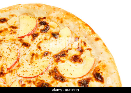Pizza aux fruits à l'ananas, les pommes et la cannelle. Banque D'Images