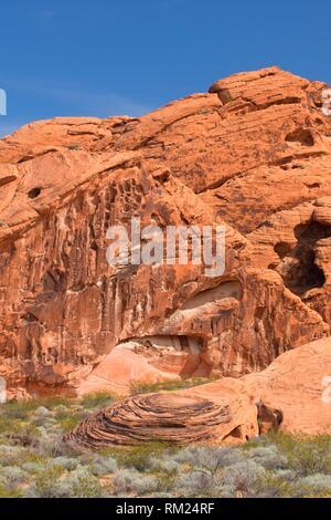 Red Rocks près de Arch Rock, Vallée de Feu Park, Nevada. Banque D'Images