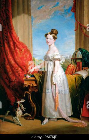 Portrait de la Princesse Victoria de Kent avec son spaniel Dash, peinture de George Hayter (peint vers 1866) 1833 copie (peinture originale) Banque D'Images