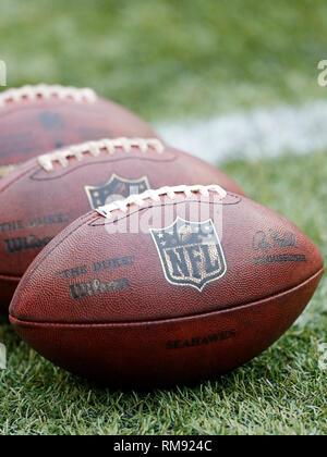 Un groupe de ballons de football NFL alignés dans une rangée sur le terrain.