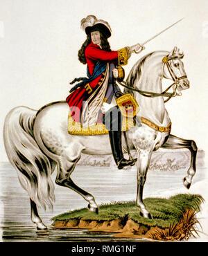 Billy King, le roi Guillaume III d'orange traversant la boyne sur son cheval blanc à la bataille de la Boyne le 1er juillet 1690 mise à jour de l'image en utilisant les techniques de retouche et de restauration numérique Banque D'Images