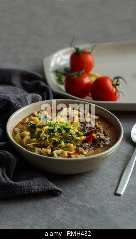 Manpar soupe avec pâtes, soupe traditionnelle de l'Asie moyenne Banque D'Images