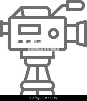 Caméra de cinéma professionnel avec l'icône de la ligne du microphone. Banque D'Images