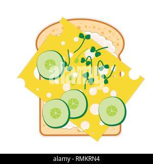 - Sandwich pain, fromage, concombre, sauce, Roquette microgreens Banque D'Images