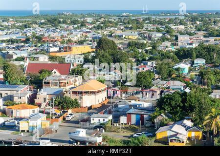 Vue aérienne, St John's, Antigua, Antigua et Barbuda, Lesser Antilles, Caribbean Banque D'Images