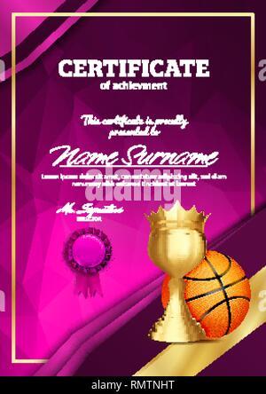 Basket Certificat Illustration Ball Avec De Modèle Background jLA435R