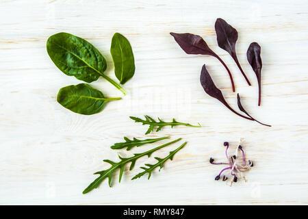 Detox de printemps mélange Salade de roquette, betterave, épinard et pousses sur un parquet en bois sur fond blanc, vue du dessus. Banque D'Images