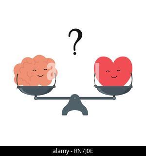 Illustration de la notion d'équilibre entre la logique et l'émotion. Le cerveau et le coeur Cartoon cute avec des visages sur une échelle. Coeur ou l'esprit Vector Banque D'Images