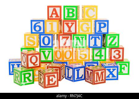 Alphabet ABC cubes en bois. Le rendu 3D isolé sur fond blanc Banque D'Images