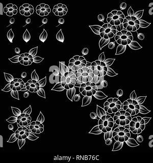 Fond noir avec des fleurs et feuilles contour blanc Banque D'Images