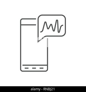 L'icône de téléphone en style de ligne. Concept IA mis en œuvre dans un smartphone. Contours vectoriels pictogrammes pour l'infographie, web design et développement d'applications. EPS 10 Banque D'Images