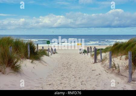 """Chemin à travers les dunes de la plage, à Petten, Pays-Bas du Nord, le panneau jaune, le """"sauveteur en service"""" en quatre langues"""