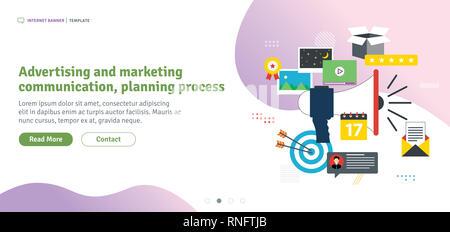 Icônes de publicité et de communication marketing, processus de planification. Entreprise de marketing, d'analyse et de la stratégie dans les réseaux sociaux et les médias sociaux. Télévision Banque D'Images