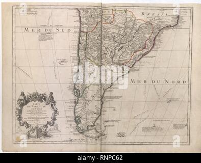 CARTE DU PARAGUAY, DU CHILI DU DÉTROIT DE MAGELLAN &c - Guillaume de L'Isle, 1703-1708 - Cartes BL K.Haut.124.4.a (BLL01018640954).