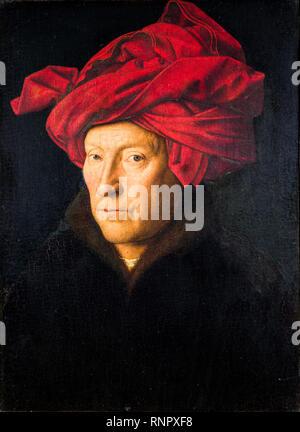 Portrait d'un homme, self portrait, Jan Van Eyck, 1433, peinture Banque D'Images