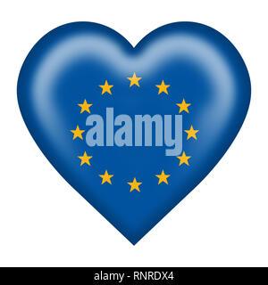 Un drapeau de l'Union européenne bouton coeur isolé sur blanc avec clipping path Banque D'Images